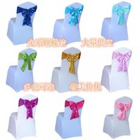 Wholesale Wedding Chian Bow Satin Chair Sashes Banquet Wedding Party Bows Chair Cover Wedding Anniversary Sashes per