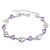 amethyst heart bracelet - 925 sterling silver bracelets female models double heart amethyst bracelet sterling silver jewelry manufacturers Korea Version
