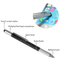 Wholesale 1pcs New Arrival Tool Ballpoint Pen Screwdriver Ruler Spirit Level with a top and scale multifunction metal pen Free Ship