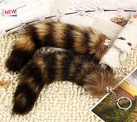 Wholesale 100 Ursfur Real Canadian Fox Fur Tail Keychain Bag Tassel Hanging Tag Strap Car Key Chain Ring Gift car keychain QLK193