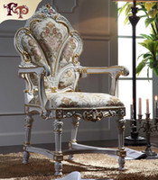 Wholesale Baroque classic solid wood dining chair European Palace furniture solid wood frame antique dining armchair