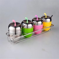 Wholesale colorful apple kitchen storage set stainless steel seasoning pot spice cans with spoons kitchen tool creative gifts