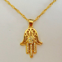 arab islam - Hexagram Hamsa Hand Pendant Necklace Women Magen David Necklace Gold Silver Plated Jewelry Islam Arab Jewish Star Palm Shaped
