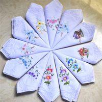 Wholesale 24pcs High Quality ladies cotton white Single corners lace embroidery handkerchief cm wedding gift