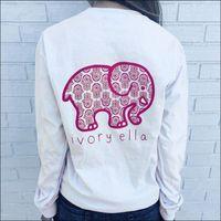 Wholesale 2016 Summer new tshirt Ivory Ella printing T shirt Women Tops Tee Print Animal Elephant T Shirt Loose Long Sleeve Harajuku Tops