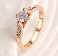 Wholesale New Rings For Women k Rose Gold Plated Alloy With Austrian Crystal Element Wedding Jewelry Rings HZ