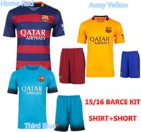barcelona set - 2015 Barcelona jersey Neymar Jr Messi Arda Suarez Soccer jerseys Third Blue Barce Football Shirt Uniform Soccer Sets Kits With Short