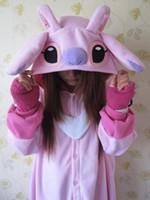 adult one piece pajamas - Designer Anime Animal Pink Lilo Stitch Polyester Polar Fleece Cosplay Pajamas Adult Unisex Women Men Onesie One Piece Sleepwear