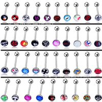 Wholesale Mix LOGO Stainless Steel Acrylic Barbell Tongue Piercing Tounge Ear Nipple Rings Piercing Jewelry Styles