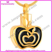 apple memorial - IJD9230 hot sale l stainless steel golden plating apple shape cremation jewelry Ash pendant Urn necklace memorial keepsake