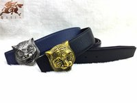 antique leather belt - The new brand G senior antique tiger head buckle the new pattern cowhide belt Men Women