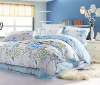 alternative comforters - Quality Cotton light blue flower floral pattern Alternative Printed Comforter cover Queen bedding set pc home textile bedspread