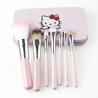 Wholesale 7pcs Professional Makeup Cosmetics Facial Brush Wool Set Powder Foundation Health Wood Cosmetic brushes Hello Kitty Make up Brushes Tools