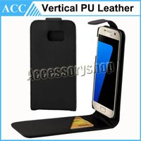Cheap S7 Edge Vertical PU Leather Wallet Case For iPhone 6 6S Plus Samsung Galaxy S7 Edge S6 Edge S5 Credit Card holder Up and Down Skin Cover