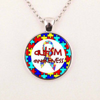 autism jewelry - Glass Dome Pendant Necklace Autism Pendants Autism Jewelry Glass Cabochon Dome Jewelry