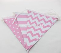 banner paper products - New Products PIECES Chevron Striped Polka Dot Paper Flag Banners for Graduation Anniversaty Party