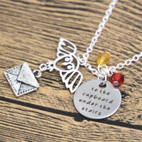 american stair - 12pcs Wizarding School of Magic necklace To the cupboard under the stairs Owl letter Wizard Witch jewelry crystals HP