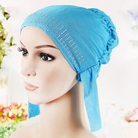 Wholesale 10 color headcloth veil bright drill baotou Muslim headdress fashion lady