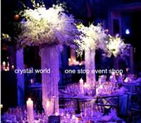 acrylic vases weddings - Metal Flower tall acrylic crystal Trumpet Vases Centerpieces For Wedding