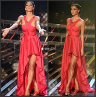 nicole scherzinger - Sexy Nicole Scherzinger Red Halter Chiffon Hi Lo On The X Factor Celebrity Dresses Red Carpet Party Dress Cheap Pageant Evening Gowns
