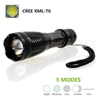 Wholesale Zoomable lumen led flashlight lantern powered by one battery Cree XML T6 LED Tactical Flashlight Torch