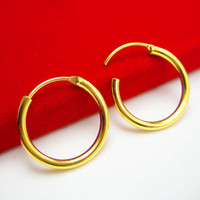 big aperture - Do not fade gold earrings female male big ear ring buckle K gold ear smooth simple small aperture