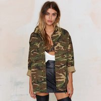 Wholesale Street Fashion Women Loose Camouflage Coat Stand Collar Pocket Long Sleeve Zipper Outwear Jacket for