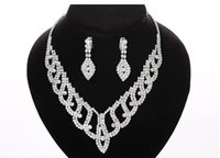 beautiful piercing - Rhinestone Beautiful Wedding Jewelry Sets Shiny Crystal Zircon Plated Silver Necklace Drop Earrings Wedding Bridal Jewelry Sets for Women
