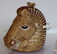 Wholesale Animal horse head Clutch evening bag Luxury crystal women Clutch bags Gold party bags wedding pochette bride purse