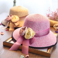 Wholesale Flowers fisherman hat Mixed color straw bonnet Outdoor beach fashion sun hat colors bowkont Summer Beach Sun Straw Panama Hats Summer caps