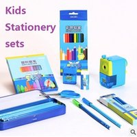 Wholesale 2016 hot Stationery Sets pencil sharpener color pencel scissors crayon pencel box rubber kid children gift