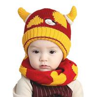 baby velvet yarn - Unisex Children Winter Warm Add Velvet Knitted Hats Set Baby Kids Cow Horn Beanies Caps and Scarf Suit Set For Boy Girl MZ4169