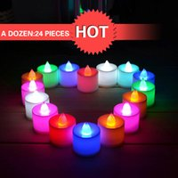 Wholesale 24pcs New non waterproof LED Battery Included Realistic Colorful Flameless Electronic Candles Multi colored Tea Light Wedding Lamps Decor