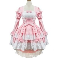 Wholesale Black Pink Female Halloween Victorian Gothic Lolita Dress Girl Cosplay Princess Lolita Costume Layered Women Cinderella Dress