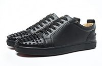 banded bottom dress - Men Women Black Genuine Leather With Spikes Toe Low Top Red Bottom Casual Shoes Unisex Luxury Brand New Flat loubuten Shoes