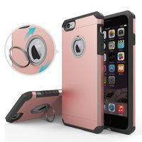 Wholesale Invisibility Ring Armour Kickstand Colorful Protective Phone Case With High Quality TPU For Iphone s Plus