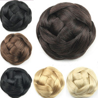 Wholesale High Quality g Large Size Chignon Bun Hairpiece Knitted Hair Chignon Synthetic Donut Roller Hairpieces Hair Buns colors available