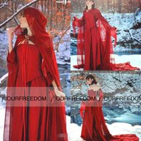 art gothic - Blood Red Taffeta Long Evening Gothic Halloween Costumes With Chiffon Wrap Juliet Sleeve Medieval Prom Occasion Dresses Cheap Hot Sale