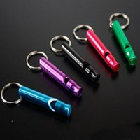 Wholesale Survival kit Emergency Whistle Aluminum Whistles with Keychain Outdoor Sports Gear Gadgets SOS Tools mixed colors