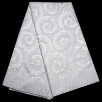 Wholesale yards pc high quality African dry cotton lace fabric hot fixed stones Swiss lace in white for wedding dress many colors in stock PCL15