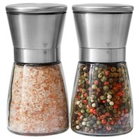 Wholesale Stainless Steel Brushed Salt Mill and Pepper Grinder Set With Glass Bottle