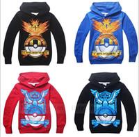 Wholesale Kids Poke Go Hoodies Pikachu Coat Pocket Jacket Monster Outwear Poke Ball Jumper Fashion Sweater Cartoon Pullover Poke Sweatshirts B724
