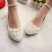 beaded flat shoes - 2016 New Arrival Pearls Lace Flowers Wedding Shoes Flats CM Or CM Bridal Heels With Pearl Strap Pointed Toe Heel