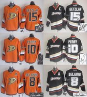 Wholesale Men s Anaheim Ducks Getzlaf Perry Selanne Black Orange Autographed Hockey jersey Top Quality Drop Shipping Cheap Hockey jersey