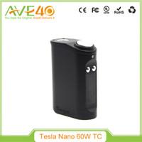 Wholesale Original Tesla Nano TC W Box Mod Built in mah Battery Temp Control Thread Fit Uwell Rafale CROWN TANK Barchelor RTA Crius RTA