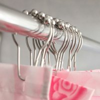 Wholesale Hot Sale pack Set Package Polished Satin Nickel Roller Ball Shower Curtain Rings Hooks House Supplies E5M1 order lt no