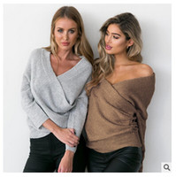 Wholesale DHL Fashion pullovers thick sweater women Autumn winter v neck batwing sleeve sweater Elegant loose white sweaters jumper