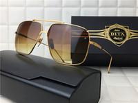 Cheap dita sunglasses dita FLIGHT005 square frame flat top metal rim unisex shiny 18K gold plated mirror UV400 lens oversized with original case