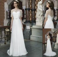 beach wedding dresses australia - 2015 Country Style Wedding Dresses Ivory Chiffon A line Sweetheart With Shawl Bridal Gown Australia Bride Dress Vestido De Noiva Custom Made