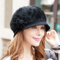 Wholesale New Ladies hats old rabbit hair knitted hat autumn winter hat women gorros warm fashion hats For Woman cap